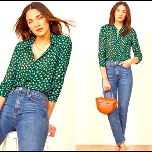 Reformation Violet Floral Button Blouse in Green